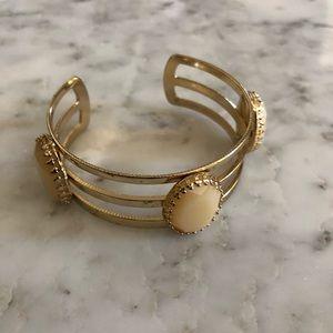 Jewelry - 3/$25 SALE Cream Stone Gold Cuff Bracelet